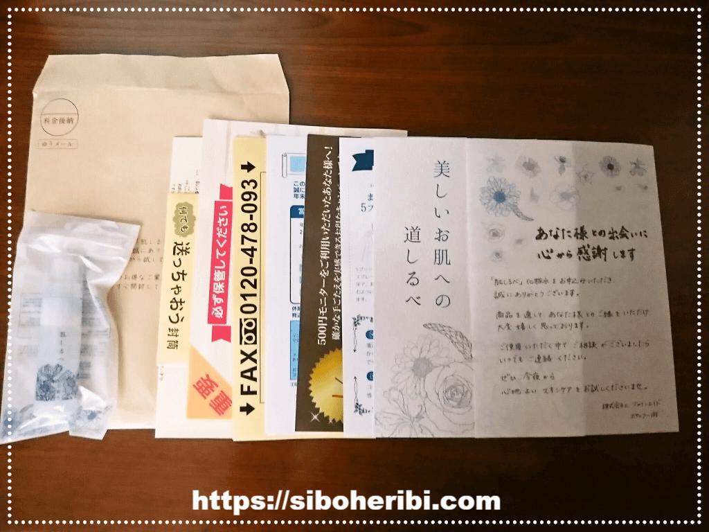 肌しるべ化粧水の封筒とチラシ