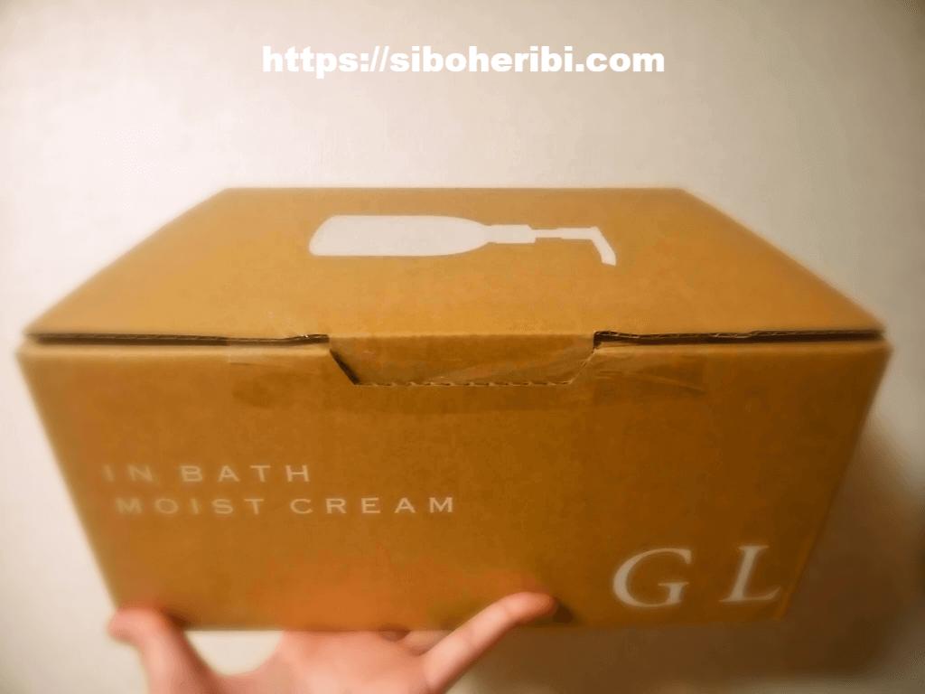 お風呂場で濡れたまま使えるボディクリーム:GLADインバスモイストクリームの届いた箱